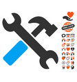 hammer and wrench icon with lovely bonus vector image vector image