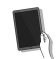 hand holing tablet computer with blank screen vector image