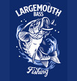 largemouth bass fish t-shirt design vector image vector image