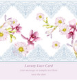lily flowers and chamomile delicate lace card vector image vector image