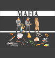 mafia taking hostage and their equipment vector image vector image