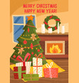 merry christmas happy new year festive tree vector image vector image