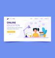 online education for children landing page girl vector image