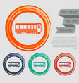 passenger wagons train icon on the red blue green vector image