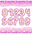 Pink Hand Drawn numbers 1234567890 in vector image vector image