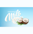 realistic bursts milk and coconuts on a blue vector image