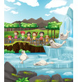 scene with seals and many kids vector image