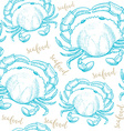 Seamless pattern background with seafood elements vector image