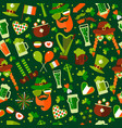 seamless pattern for saint patricks day on green vector image