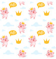 seamless pattern with pink pig vector image vector image