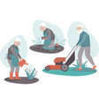 senior couple gardening together vector image