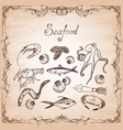 set hand-drawn elements seafood on paper vector image