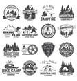 set mountain biking and camping club badge vector image