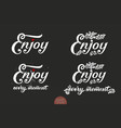 set of hand drawn lettering enjoy with a small vector image