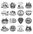 set of mountain biking and camping club badge vector image vector image