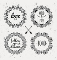 set with ornamental tribal floral frames ethnic vector image