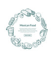 sketched mexican food elements in form of vector image vector image