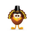 thanksgiving turkey in pilgrim hat on white vector image vector image