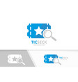 ticket and loupe logo combination ducket vector image vector image