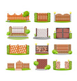 various decorative wooden metal stone fences vector image