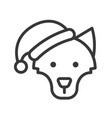 wolf wearing santa hat outline icon editable vector image vector image