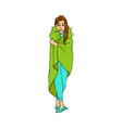young woman with cold and flu symptoms stands vector image vector image