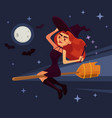 evil witch woman character flying broom vector image