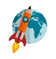 world planet with rocket vector image