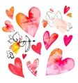 Set of hearts and cupids Valentine Day vector image