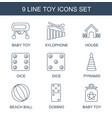 9 toy icons vector image vector image