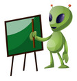 alien with blackboard on white background vector image vector image