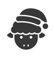 animal wearing santa hat silhouette icon design vector image vector image