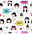 asian style seamless pattern with anime emoticons vector image