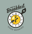 banner for breakfast with clock fork and spoon vector image vector image
