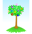 beauty spring tree with butterflies vector image vector image