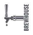 beer tap logo of brewhouse on white background vector image vector image