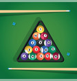 billiard stick and pool balls in triangle on green vector image vector image
