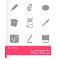 black notes icons set vector image vector image