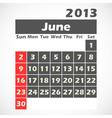 Calendar 2013 June vector image