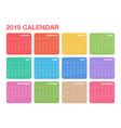 calendar 2019 template colorful calendar design vector image vector image