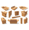 cardboard packaging containers empty carton boxes vector image