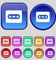 Cassette icon sign A set of twelve vintage buttons vector image vector image