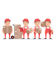 character delivery man in red uniform vector image vector image