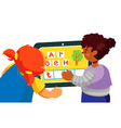 children playing learning game - colorful flat vector image vector image