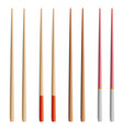 chopsticks set realistic wooden set of vector image vector image