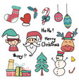 collection of cute doodle christmas icon vector image vector image