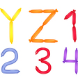 colorful alphabet and numbers vector image