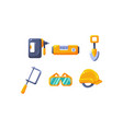 cute construction hand tools level shovel vector image vector image