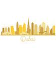 dubai uae city skyline golden silhouette vector image vector image
