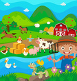 Farmer and farm animals in the farm vector image